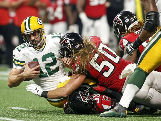Aaron Rodgers is Sacked By The Atlanta Falcons (Photo Credits Brett Davis, USA TODAY Sports)