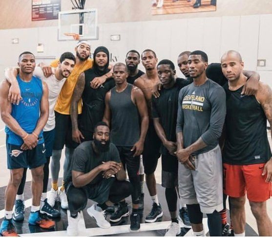 Carmelo Pictured here with Westbrook, Kanter, McGee, Melo, CP3, THJ, Lance Thomas, Oladipo, Ibaka, Shumpert, Dahntay Jones & Harden