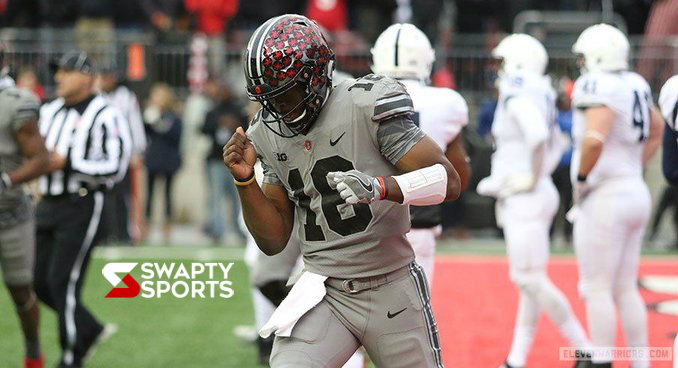 JT Barrett Celebrates After Scoring the Game Winning Touchdown